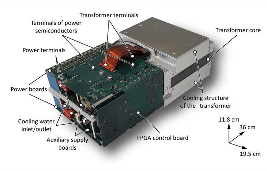Example: Highly compact, isolated 50kW battery interface based on a dual active bridge for traction applications.